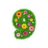 Nummer 9 van gras en kleurrijke bloemen, de lenteconcept voor grafische ontwerpcollage die wordt gemaakt Royalty-vrije Stock Afbeelding