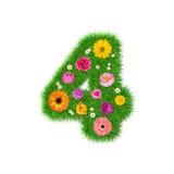 Nummer 4 van gras en kleurrijke bloemen wordt gemaakt die Royalty-vrije Stock Afbeeldingen