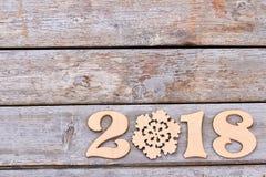 Nummer 2018 van hout en sneeuwvlok Royalty-vrije Stock Foto