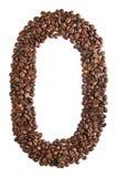 Nummer 0 van koffiebonen op witte achtergrond worden geïsoleerd die Royalty-vrije Stock Afbeelding