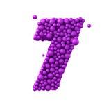 Nummer 7 van plastic parels, purpere die 3d bellen wordt, op wit worden geïsoleerd gemaakt die, geeft terug Stock Foto's