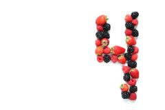 Nummer vier met vruchten Stock Foto