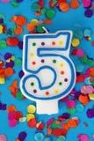 Nummer vijf verjaardagskaars Royalty-vrije Stock Foto