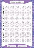 Nummer 0-9 Vindend Aantekenvel voor jonge geitjes Peuteraantekenvel, het praktizeren motorvaardigheden - vindende gestormde lijne stock illustratie