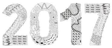 Nummer 2017 Zentangle Vector decoratief voorwerp Stock Afbeeldingen