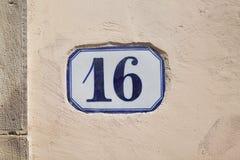 Nummer zestien Stock Afbeeldingen