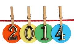 Nr. 2014 auf einem roten Seil Stockbild