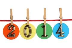 Nr. 2014 auf einem Seil Stockbild