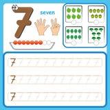 Nummerieren Sie die Karten und die Zahlen zählen und schreiben und Zahlen lernen, die Zahlen, die Arbeitsblatt für Vorschule verf lizenzfreies stockbild