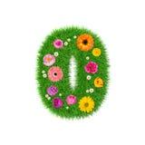 Nummerieren Sie 0 machte vom Gras und von den bunten Blumen, Frühlingskonzept für Grafikdesigncollage Lizenzfreie Stockbilder