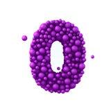Nummerieren Sie 0 machte von den Plastikperlen, die purpurroten Blasen, lokalisiert auf Weiß, 3d übertragen Stockfotos