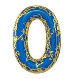 Nummerieren Sie null 0 machte vom goldenen Glänzen metallisch mit der blauen Farbe, die auf weißem 3d lokalisiert wird stockfoto