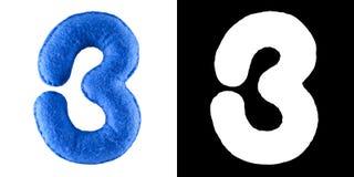 Nummerieren Sie Stühle des Strandes 3 Handgemachtes Spielzeug vom Blaufilz Symbol drei Stockbild