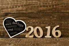 Nummerieren Sie 2016 und einige Wünsche für das neue Jahr Stockbilder