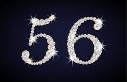 Nummerieren Sie 5 und 6 verfasst von den Diamanten mit Goldenem Stockfoto