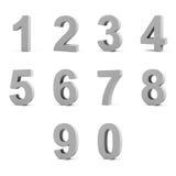 Nummerieren Sie von 0 bis 9 auf weißem Hintergrund. Lizenzfreie Stockfotografie
