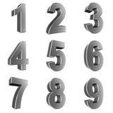 Nummerieren Sie von 1 bis 9 im Chrom, das auf weißem Hintergrund lokalisiert wird lizenzfreie abbildung