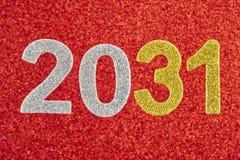 Nummerieren Sie zwei tausend und thirty-one über einem roten Hintergrund Annive Lizenzfreie Stockfotos