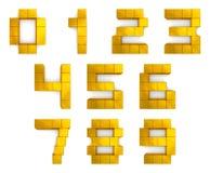 Nummeriert 3d Kubikgoldenes stock abbildung