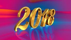 2018, nummeriert goldenes 3D auf einem festlichen Hintergrund Stockbild