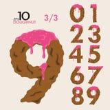3-3 nummeriert Satz des Kuchen-Donut-Vektors 0-9 vektor abbildung