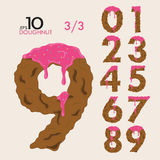 3-3 nummeriert Satz des Kuchen-Donut-Vektors 0-9 Stockbild