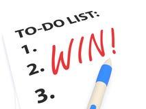 Nummeriert, um Liste mit dem Wort-Gewinn zu tun Lizenzfreies Stockfoto