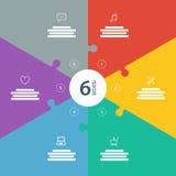 Nummerierte Ganzseite flaches Regenbogenspektrum färbte Puzzlespieldarstellung infographic Diagramm mit erläuterndem Textfeld Lizenzfreie Stockbilder