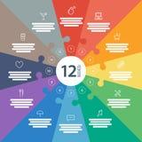 Nummerierte Ganzseite flaches Regenbogenspektrum färbte Puzzlespieldarstellung infographic Diagramm mit erläuterndem Textfeld Stockfotografie