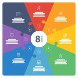 Nummerierte Ganzseite flaches Regenbogenspektrum färbte Puzzlespieldarstellung infographic Diagramm mit erläuterndem Textfeld Stockfoto