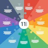 Nummerierte Ganzseite flaches Regenbogenspektrum färbte Puzzlespieldarstellung infographic Diagramm mit erläuterndem Textfeld Lizenzfreies Stockfoto