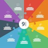 Nummerierte Ganzseite flaches Regenbogenspektrum färbte Puzzlespieldarstellung infographic Diagramm mit erläuterndem Textfeld Lizenzfreie Stockfotos