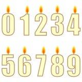 Nummerierte Geburtstagkerzen Stockfoto