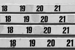 Nummerierte Reihe der Sitze Lizenzfreies Stockfoto