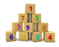 Nummerierte Würfel Stockfoto