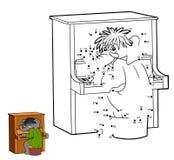 Nummerlek för barn: elefant och piano stock illustrationer