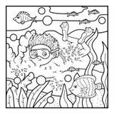 Nummerlek för barn, pyssimning i havet vektor illustrationer