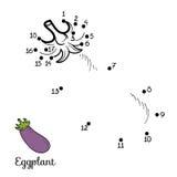 Nummerlek: frukter och grönsaker (aubergine) stock illustrationer