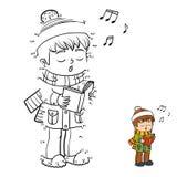 Nummerlek, pojke som sjunger en julsång stock illustrationer