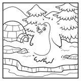 Nummerlek, prick som ska prickas (pingvinet och bakgrund) Arkivbilder