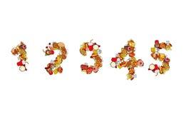 Nummermat Utskrift av nummer av produkter Ätliga mallelemen Arkivbild
