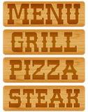 Nummernschild des Holzes mit Wörter Menü-Grill-Steak Stockbild