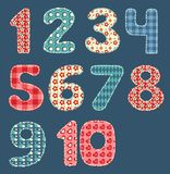 nummerpatchworkset Arkivfoto