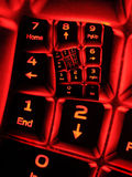 Numpad on illuminated keyboard Stock Photos
