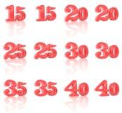 Numren i den tredimensionella bilden 15 till 40 Royaltyfria Bilder