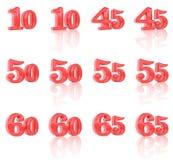 Numren i den tredimensionella bilden 10 till 65 Royaltyfri Foto