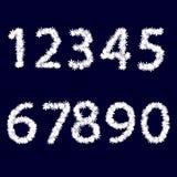 Numren Tillverkat av vita snöflingor stock illustrationer