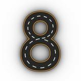 Numrera åtta symboler av diagramen i form av en väg med den vita och gula linjen tolkning för teckning 3d Fotografering för Bildbyråer