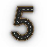 Numrera fem symboler av diagramen i form av en väg med den vita och gula linjen tolkning för teckning 3d Arkivbild
