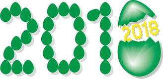 Numrera 2018 från gröna ägg med den gula insidan för år 2018 Shell vektor illustrationer